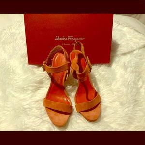 Salvatore Ferragamo heels in red and orange.